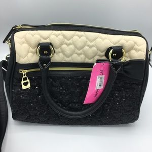 NWT Betsey Johnson quilted hearts sequin bag